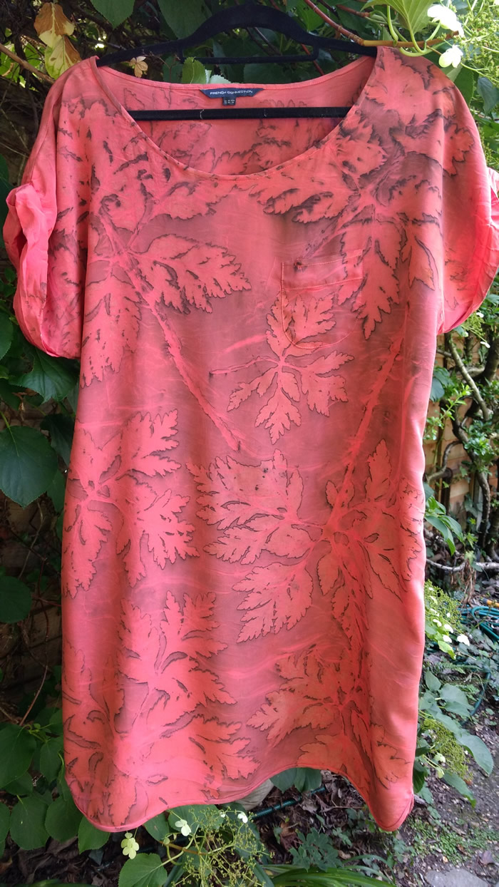 pink ecoprint geranium dress