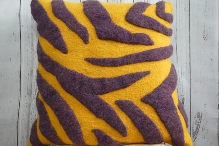 upcycled felt cushion